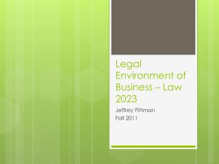 Legal Environment of Business – Law 2023