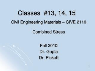 Classes  #13, 14, 15