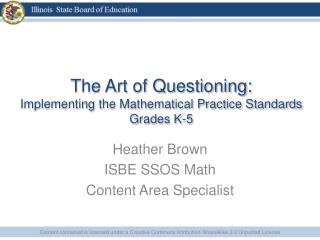 The Art of Questioning: Implementing the Mathematical Practice Standards Grades K-5