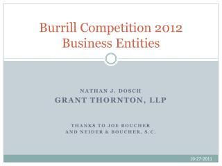 Burrill Competition  2012 Business Entities
