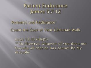 Patient Endurance James 5:7-12