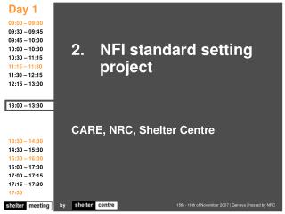 CARE, NRC, Shelter Centre