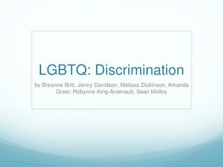 LGBTQ: Discrimination