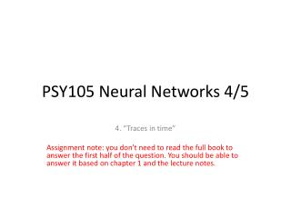 PSY105 Neural Networks 4/5