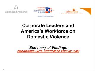 Corporate Leaders and America's Workforce on Domestic Violence