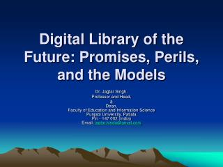Digital Library of the Future: Promises, Perils, and the Models