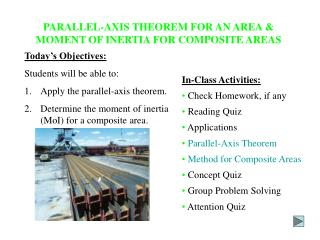 PARALLEL-AXIS THEOREM FOR AN AREA & MOMENT OF INERTIA FOR COMPOSITE AREAS