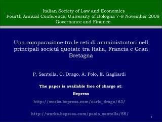 P. Santella, C. Drago, A. Polo, E. Gagliardi