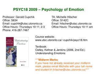 PSYC18 2009 – Psychology of Emotion