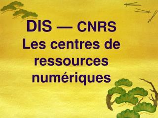 DIS��� CNRS Les centres de ressources num�riques