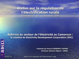 Atelier sur la régulation de l'électrification rurale Antananarivo : 18 - 22  décembre  2006