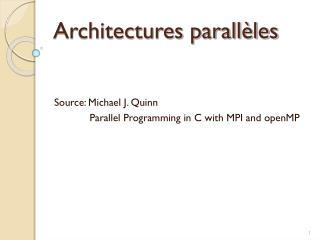 Architectures parall�les