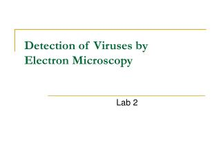 Detection of Viruses by Electron Microscopy