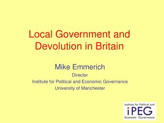 Local Government and Devolution in Britain