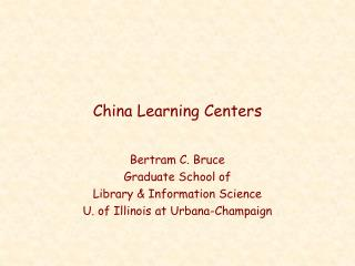 China Learning Centers