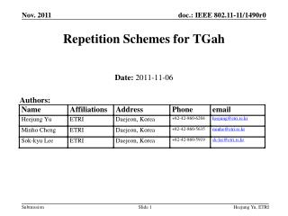 Repetition Schemes for  TGah