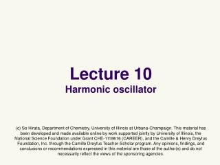 Lecture 10 Harmonic oscillator