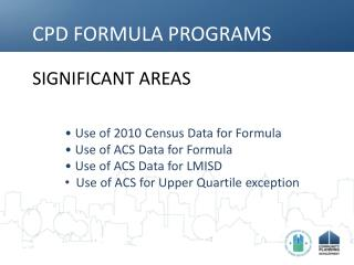 CPD FORMULA PROGRAMS