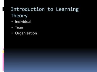 Introduction to Learning Theory
