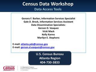 Census Data Workshop Data Access Tools