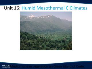 Unit 16:  Humid  Mesothermal  C Climates
