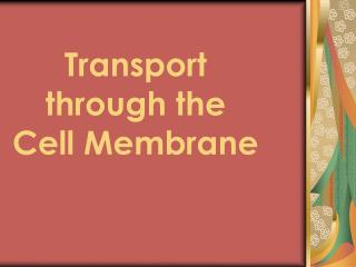Transport through the  Cell Membrane