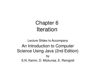 Chapter 6 Iteration