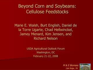 Beyond Corn and Soybeans: Cellulose Feedstocks