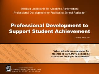 Professional Development to Support Student Achievement