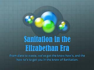 Sanitation in the Elizabethan Era