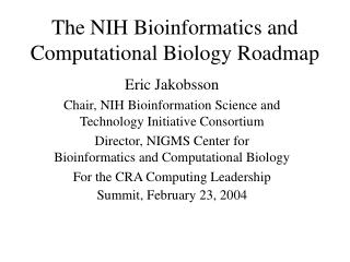 The NIH Bioinformatics and Computational Biology Roadmap