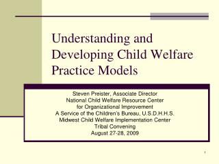 Understanding and Developing Child Welfare Practice Models