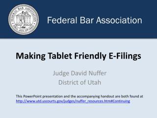 Making Tablet Friendly E-Filings