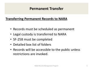 Permanent Transfer