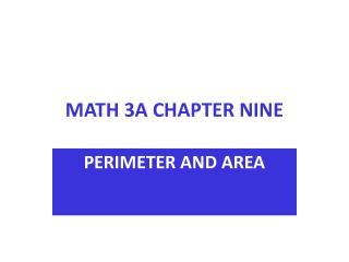 MATH 3A CHAPTER NINE