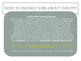 NOTE to instructors about this PPT