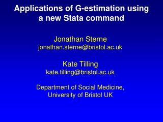 Applications of G-estimation using a new Stata command