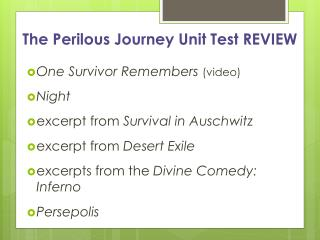 The Perilous Journey Unit Test REVIEW