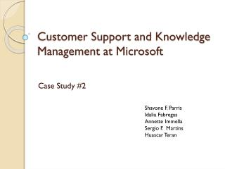 Customer Support and Knowledge Management at Microsoft