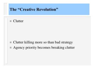 "The ""Creative Revolution"""