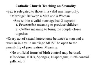 Catholic Church Teaching on Sexuality