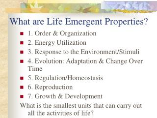 What are Life Emergent Properties?