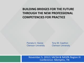 Building Bridges for the Future Through the New Professional Competencies for practice