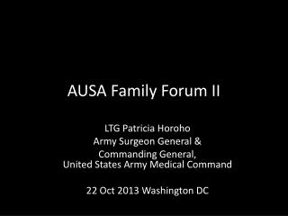 AUSA Family Forum II