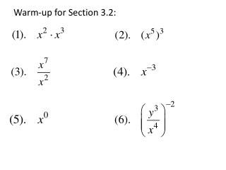 Warm-up for Section 3.2: