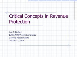 Critical Concepts in Revenue Protection