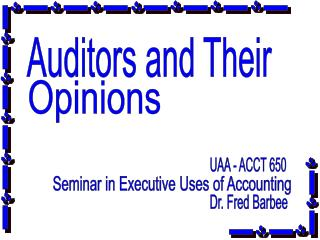 Auditors and Their