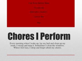 Chores I Perform