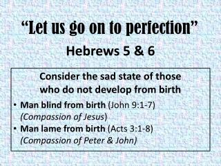 """""""Let us go on to perfection"""""""