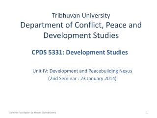 Tribhuvan University Department of Conflict, Peace and Development Studies